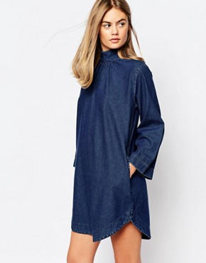 photo High Neck Denim Tunic Dress by Rollas, color Blue - Image 1