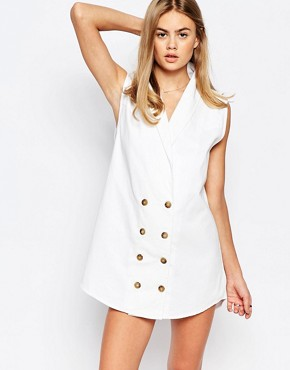 photo Button Front Denim Waistcoat Mini Dress by Rollas, color White - Image 1