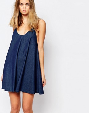 photo Strappy Denim Cami Dress by Rollas, color Blue - Image 1