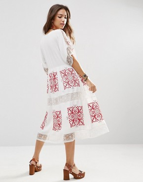 photo Cutwork Midi Dress with Red Embroidery by ASOS PREMIUM, color White - Image 2