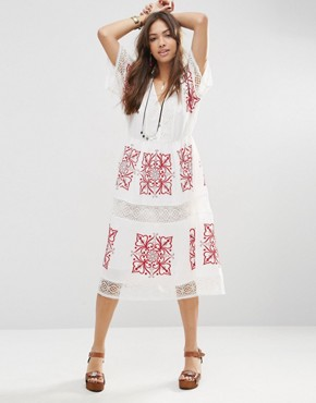 photo Cutwork Midi Dress with Red Embroidery by ASOS PREMIUM, color White - Image 1