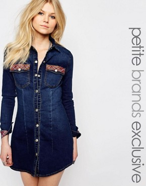 photo Mini Denim Shirt Dress with Embroidered Hem by Liquor & Poker Petite, color Blue - Image 1