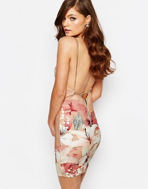 photo Plunge Bodycon Dress in Oversized Floral by Ginger Fizz, color Nude Floral - Image 2