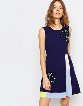 photo Embellished A-Line Dress in Navy by Sportmax Code, color Navy - Image 1