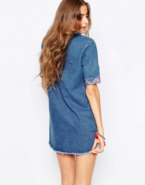 photo Denim Dress with Embroidered Trim by Liquor & Poker Tall, color Blue - Image 2