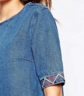 photo Denim Dress with Embroidered Trim by Liquor & Poker Tall, color Blue - Image 3