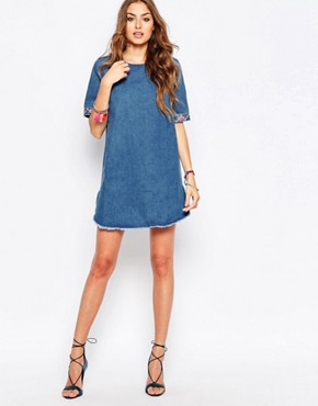photo Denim Dress with Embroidered Trim by Liquor & Poker Tall, color Blue - Image 4