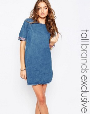 photo Denim Dress with Embroidered Trim by Liquor & Poker Tall, color Blue - Image 1