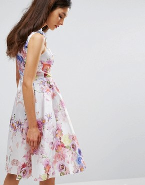 photo High Neck Skater Dress in Placement Print by Hope and Ivy, color Nude Multi - Image 2