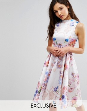photo High Neck Skater Dress in Placement Print by Hope and Ivy, color Nude Multi - Image 1