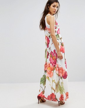 photo 2 in 1 Maxi Dress in Oversized Floral Print by Hope and Ivy, color Pink Multi - Image 2