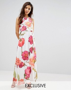 photo 2 in 1 Maxi Dress in Oversized Floral Print by Hope and Ivy, color Pink Multi - Image 1