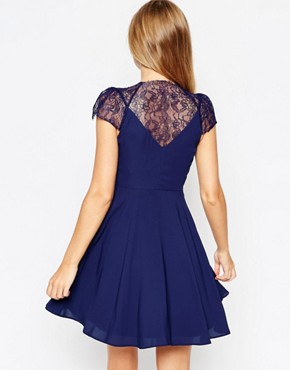 photo Kate Lace Mini Dress by ASOS, color Navy - Image 2