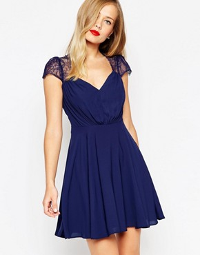 photo Kate Lace Mini Dress by ASOS, color Navy - Image 1