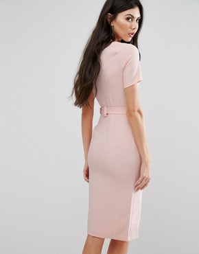 photo Belted Pencil Dress with Split Front Detail by Alter Tall, color Blush - Image 2
