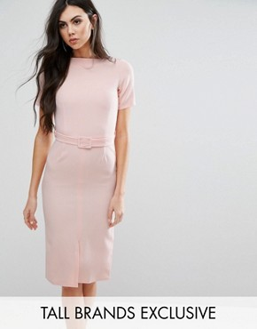 photo Belted Pencil Dress with Split Front Detail by Alter Tall, color Blush - Image 1