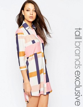 photo Oversized Graphic Printed Shirt Dress by Alter Tall, color Multi - Image 1