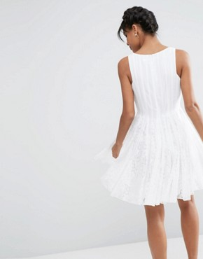 photo Mesh Fit And Flare Mini Skater with Lace Inserts by ASOS, color White - Image 2