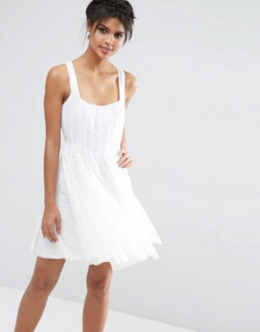 photo Mesh Fit And Flare Mini Skater with Lace Inserts by ASOS, color White - Image 1