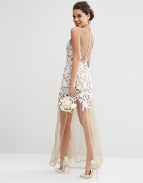 photo Lace Placed Maxi Dress On Naked Mesh by ASOS BRIDAL, color White - Image 2