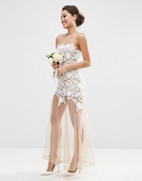 photo Lace Placed Maxi Dress On Naked Mesh by ASOS BRIDAL, color White - Image 1