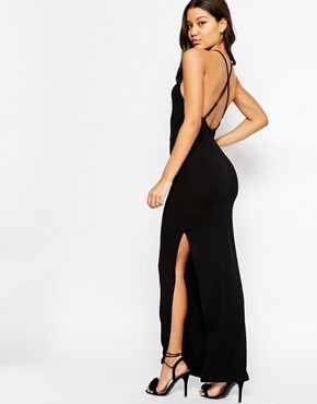 photo Halter Strappy Back Maxi Dress by ASOS, color Black - Image 1