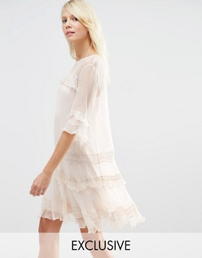 photo Chiffon Frill Dress by Needle & Thread, color Petal Pink - Image 1
