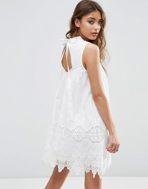 photo Ladder and Lace Swing Sundress with High Neck by ASOS PREMIUM, color White - Image 2