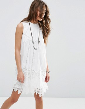 photo Ladder and Lace Swing Sundress with High Neck by ASOS PREMIUM, color White - Image 1