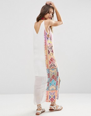 photo Embroidered Column Maxi Dress by ASOS PREMIUM, color Multi - Image 2