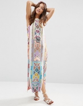 photo Embroidered Column Maxi Dress by ASOS PREMIUM, color Multi - Image 1