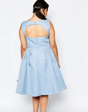 photo Skater Midi Dress with Keyhole Back Detail by Chi Chi London Plus, color Blue - Image 2