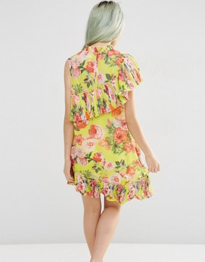 photo Pleated Shift Dress in Bright Acid Floral by ASOS, color Yellow - Image 2