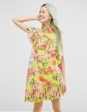 photo Pleated Shift Dress in Bright Acid Floral by ASOS, color Yellow - Image 1