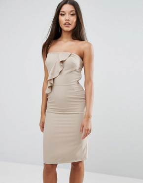 photo Bandeu Frill Pencil Dress by Love, color Taupe - Image 1