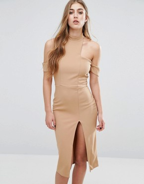 photo Cut Out Choker Midi Dress by Missguided, color Camel - Image 1