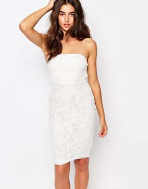 photo Floral Bandeau Lace Midi Dress by Missguided, color White - Image 1