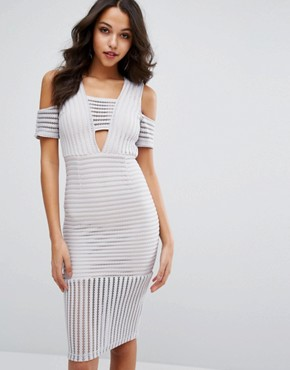 photo Cold Shoulder Mesh Insert Dress by Missguided, color Grey - Image 1