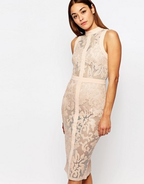 photo Leather Look Trim Lace Pencil Dress by Missguided Premium, color Nude - Image 1