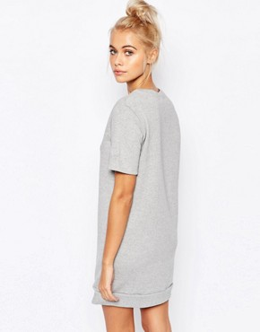 photo T-Shirt Sweat Dress with All I Need Is Wifi Print by Adolescent Clothing, color Grey - Image 2