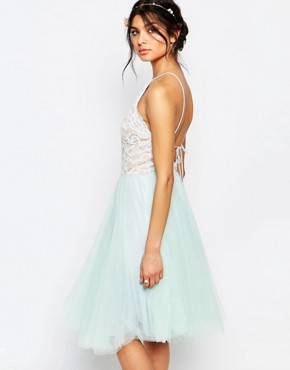 photo High Neck Lace Top Prom Skater Dress with Tulle Skirt by Jarlo Petite, color Green - Image 2