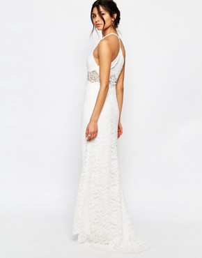 photo Allover Lace Halter Neck Maxi Dress with Lace Waist Insert by Jarlo Petite, color White - Image 2