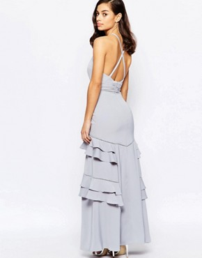 photo Layered Ruffle Maxi Dress by Jarlo Petite, color Grey - Image 2