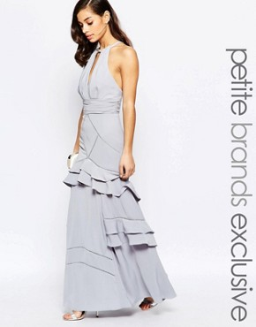 photo Layered Ruffle Maxi Dress by Jarlo Petite, color Grey - Image 1