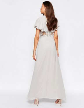 photo Maxi Dress with Fluted Sleeves and Lace Insert Waist by Jarlo Tall, color Grey - Image 2