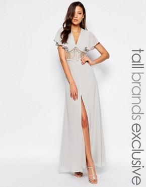photo Maxi Dress with Fluted Sleeves and Lace Insert Waist by Jarlo Tall, color Grey - Image 1