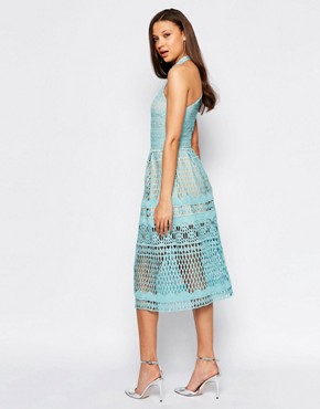 photo High Neck Allover Cutwork Lace Prom Skater Midi Dress by Jarlo Tall, color Green - Image 2