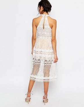 photo High Neck Allover Cutwork Lace Prom Skater Midi Dress by Jarlo Tall, color White - Image 2