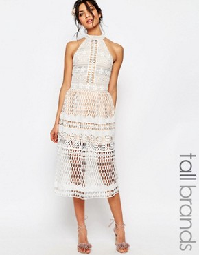 photo High Neck Allover Cutwork Lace Prom Skater Midi Dress by Jarlo Tall, color White - Image 1
