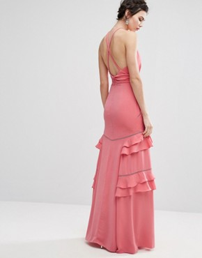 photo Layered Ruffle Maxi Dress by Jarlo Tall, color Pink - Image 2